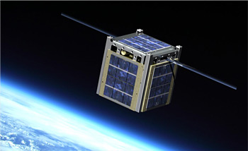Illustration of a cubeSat above the Earth.
