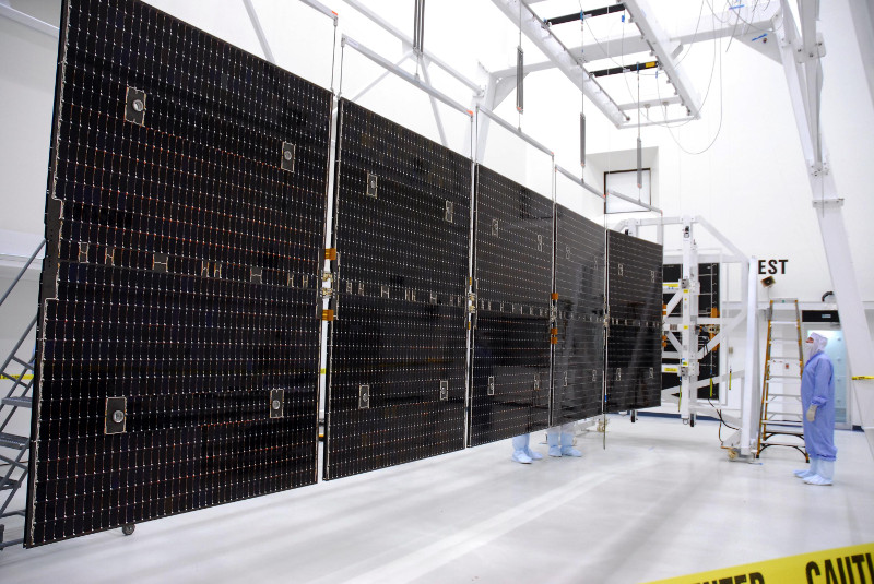 In a clean room at Astrotech, the solar panels of the Dawn spacecraft are extended to their full extent - From https://commons.wikimedia.org/wiki/File:Dawn_solar_panel.jpg