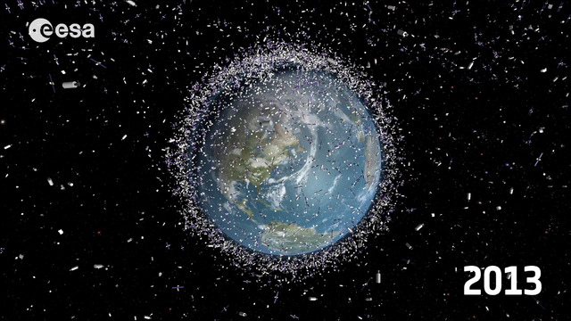 Illustration from space that shows the earth surrounded by thousands of debris.